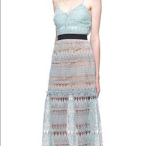 Self Portrait full teardrop guipure pattern dress
